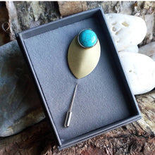 Load image into Gallery viewer, Gemstone & Leaf Brooch Pin