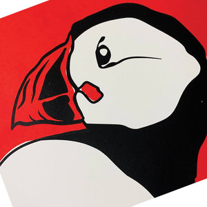 Sunrise Puffin - Handmade Screen Print