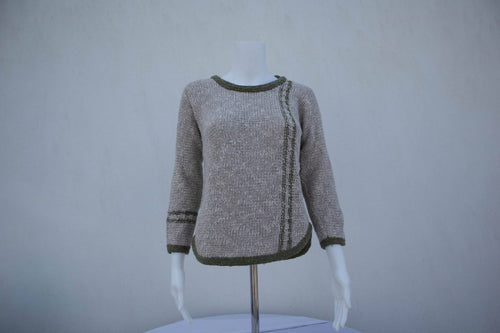 Ladies Two Tone Tunic Sweater - Green