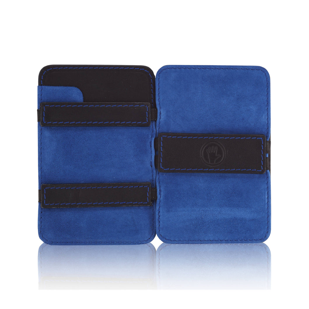 Magic Wallet Black with Luxury Blue Suede