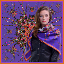 Load image into Gallery viewer, Purple Spider Print, Silk Scarf, 110cm Square