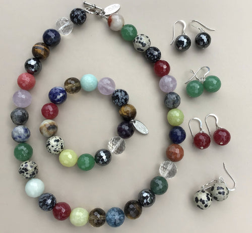 Gemstone Necklace, Bracelet and Earrings