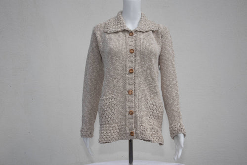 Cotton & Linen Ladies Berry Collar Cardigan