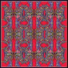 Load image into Gallery viewer, Red Butterflies, 100% Satin Silk, 100cm Square