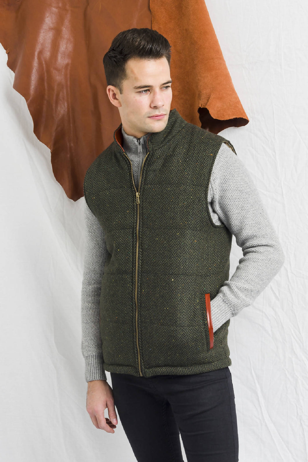 Men's Green Tweed Body Warmer and Gilet Trimmed with Leather