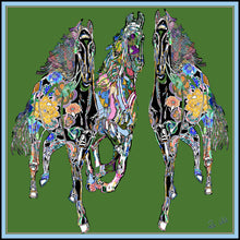 Load image into Gallery viewer, Green Gallop Silk Scarf, 110cm Square