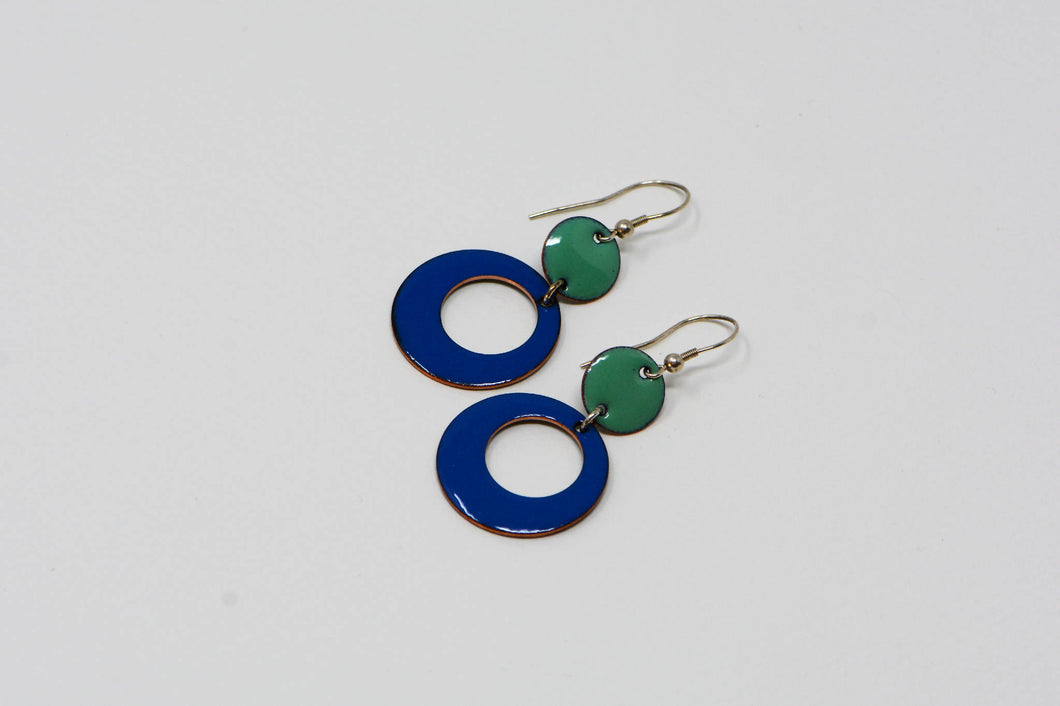 Handmade blue and willow green enamelled earrings