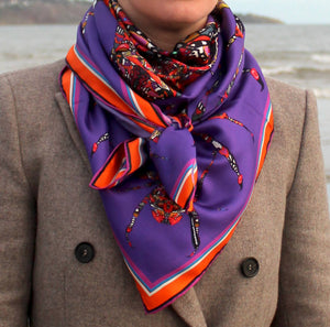 Purple Spider Print, Silk Scarf, 110cm Square