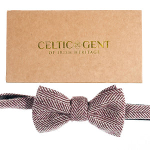 Irish Rosewood Herringbone Bow Tie