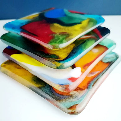 4 Handcrafted Fused Glass Coasters (4 options)