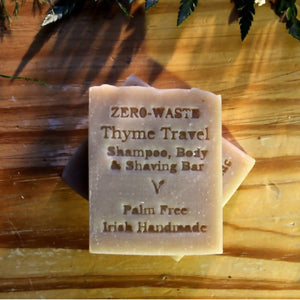 Palm Free Irish Soap, Classic Thyme Travel Shampoo & Shaving Bar