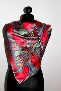 Red Butterflies, 100% Satin Silk, 100cm Square