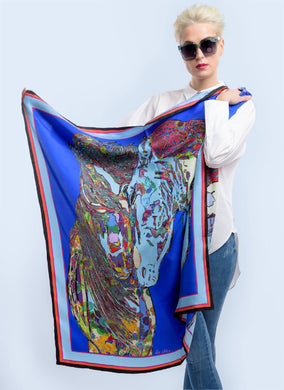 Blue Horses in Love Silk Scarf, 110cm Square