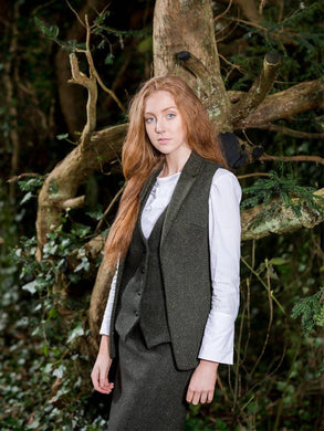 Ladies Irish Tweed Green Gilet