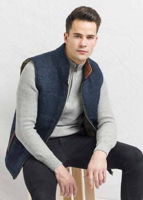 Men's Blue Tweed Body Warmer and Gilet with Leather Trims.