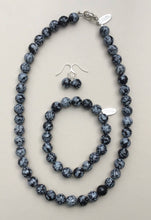 Load image into Gallery viewer, Snowflake Obsidian Necklace, Bracelet and Earrings