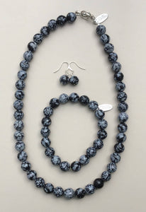 Snowflake Obsidian Necklace, Bracelet and Earrings