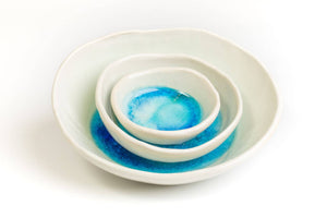 Set of 3 ceramic bowls. Handcrafted in Ireland. Sea range