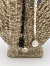 "Load image into Gallery viewer, ""Strands 2L"" Natural Gemstone Bead Necklace with Silver Centerpiece."