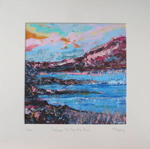 Seascape In Pink And Blue - Limited edition print of an original painting