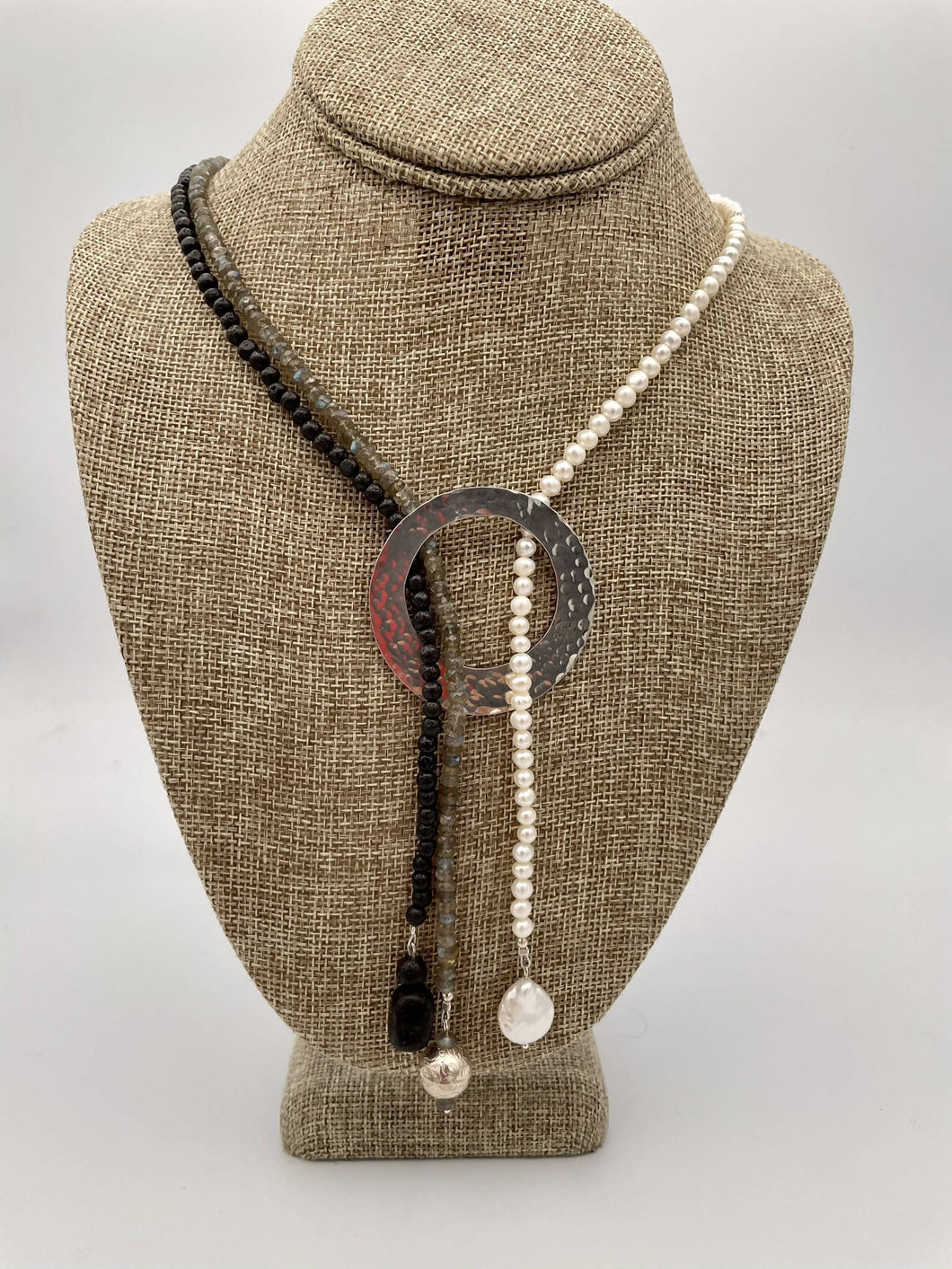 """Strands 2L"" Natural Gemstone Bead Necklace with Silver Centerpiece."