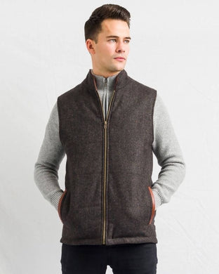 Men's Brown Tweed Body Warmer And Gilet With Leather Trims