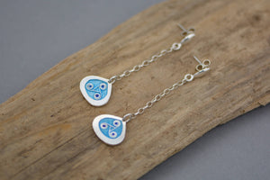 Blue Drop Enamelled Silver Earrings