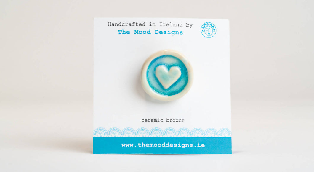 Heart Brooch irish ceramics gift from Ireland pottery sea inspired stocking filler Christmas present small under 20 blue The Mood Designs handmade in Mayo handcrafted brooch pin jewellery love
