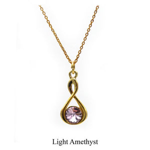 Sterling silver Infinity necklace- 24k gold plated with Swarovski crystal