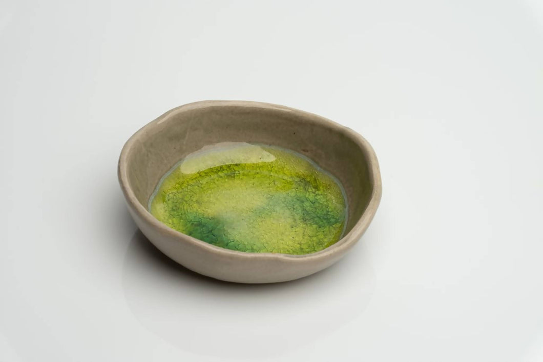 Ceramic jewellery bowl / ring dish. Handcrafted in Ireland. Stone and Moss range.