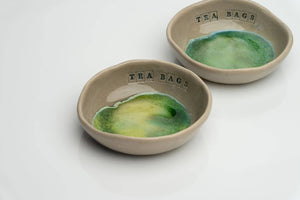 Ceramic bowl for used tea bags, Handcrafted in Ireland. Stone and Moss range