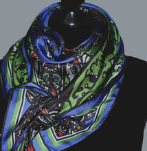 Load image into Gallery viewer, Blue /Green Beetle, 100% Silk Scarf