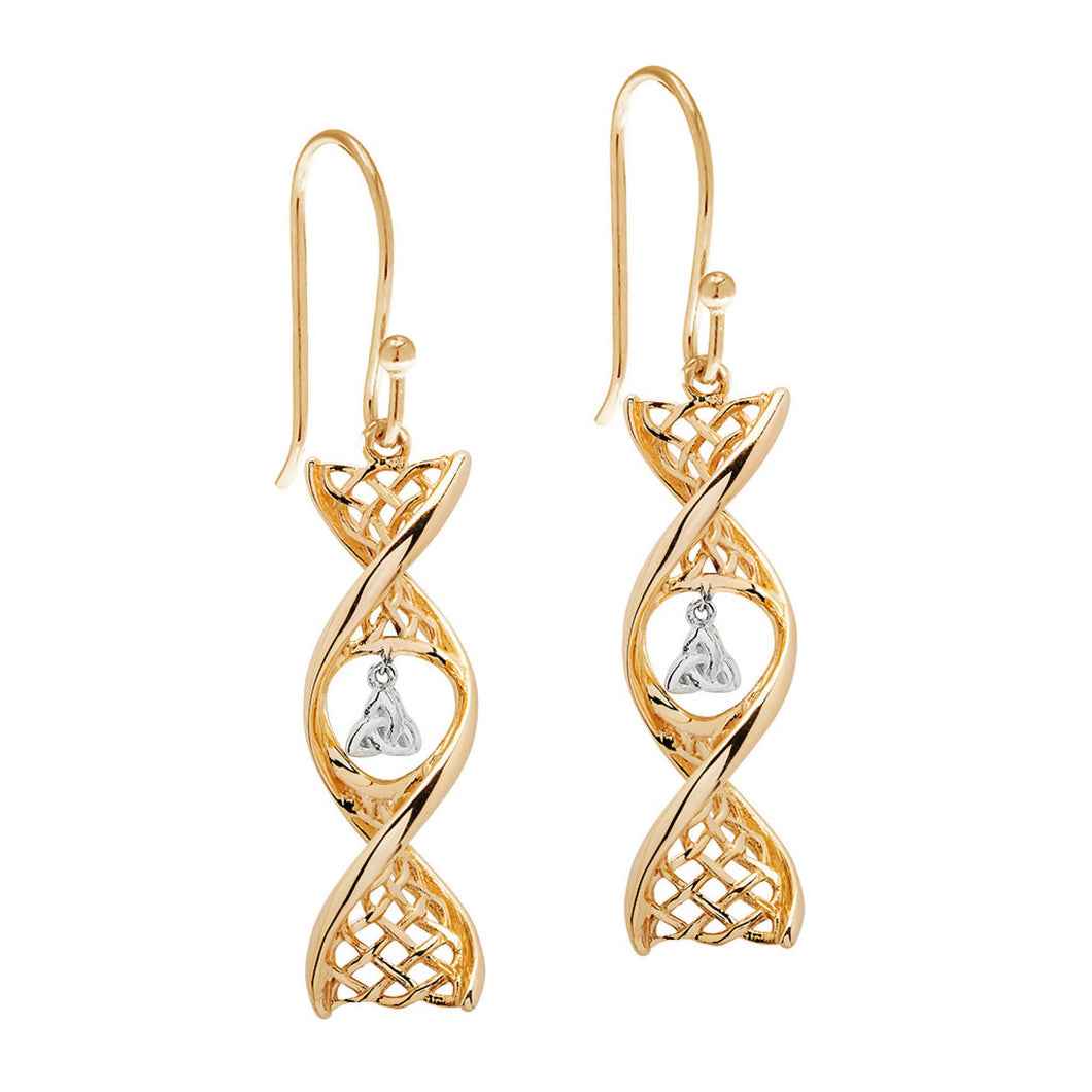 Celtic DNA Trinity Earrings 14K Yellow Gold