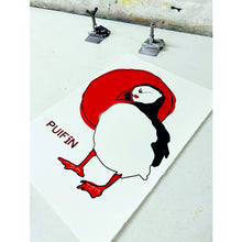 Load image into Gallery viewer, Sunrise Puffin - Handmade Screen Print