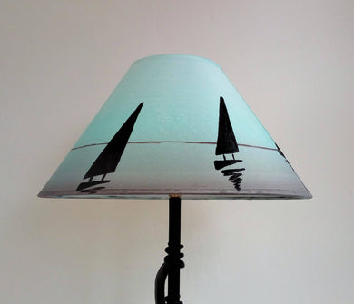 Boat Silhouette Hand Painted Lampshade