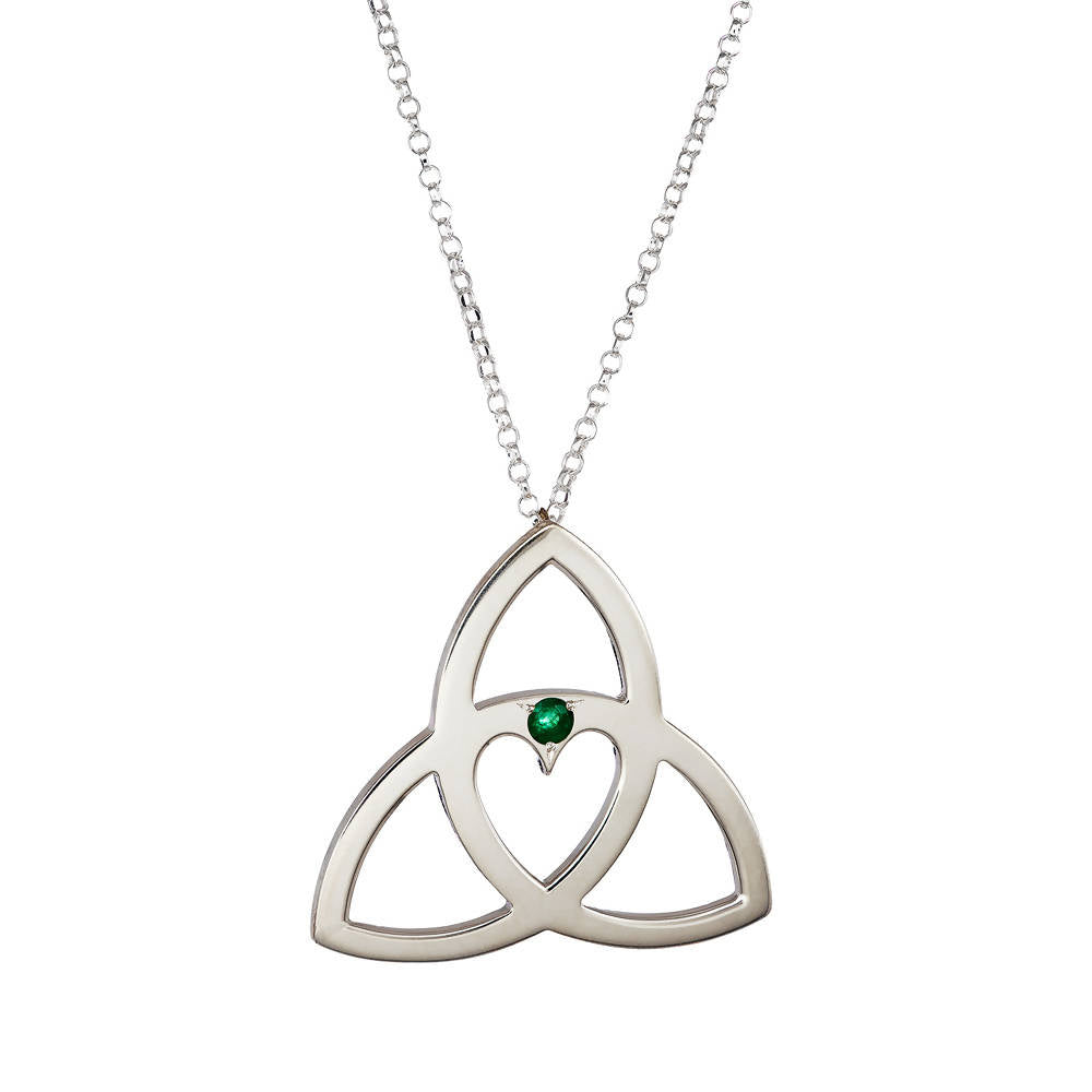 Celtic Heart Pendant with Emerald