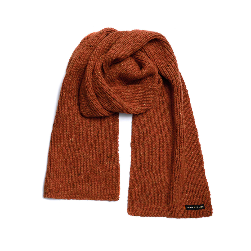 Lichen Orange - Merino Wool Knit Scarf