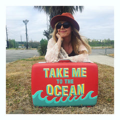 Take Me To The Ocean Handpainted Vintage Suitcase