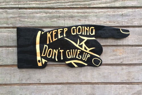 Keep Going Pointing Hand Wood Wall Art
