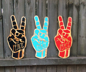 Peace Sign Hand Painted Sign Language Wall Art