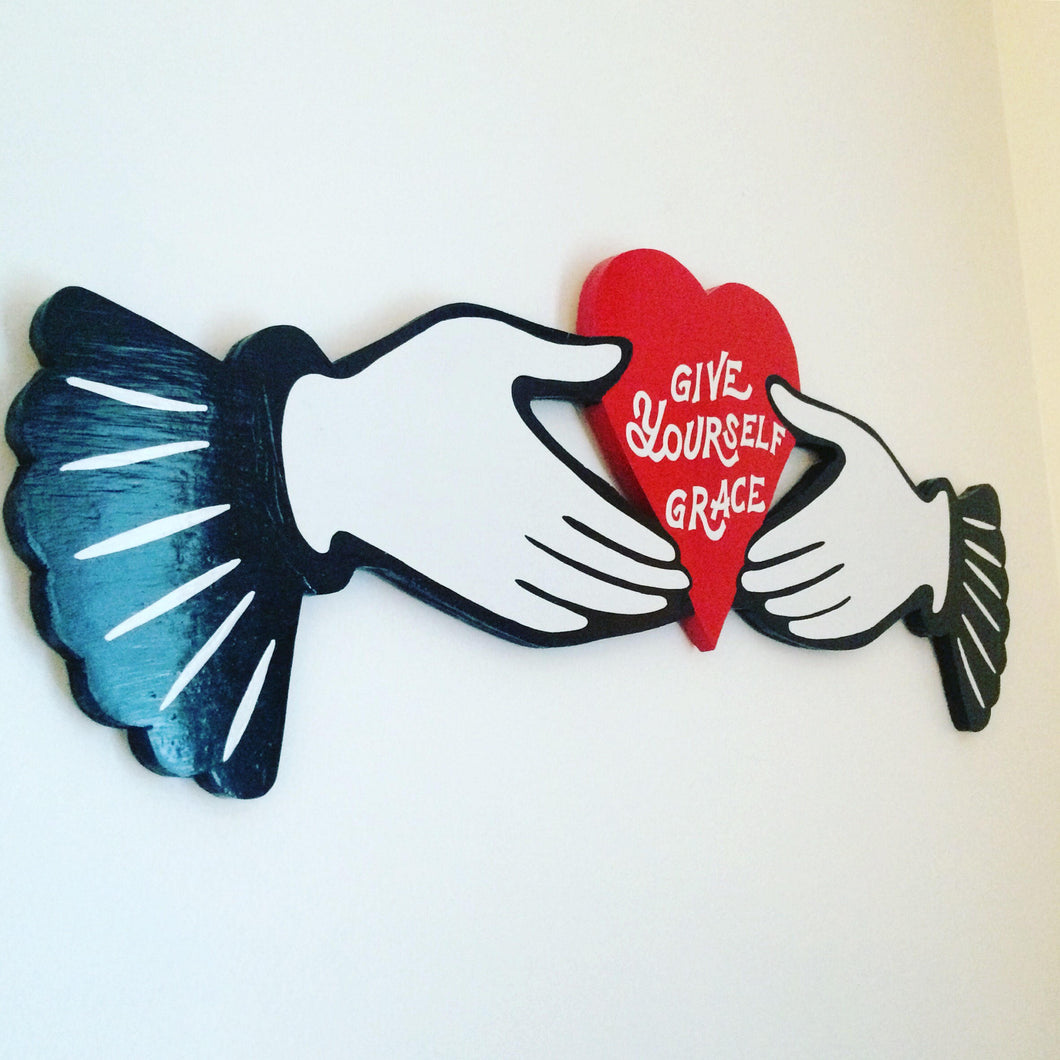 Give Yourself Grace Victorian Hand Painted Wood Sign