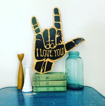 Load image into Gallery viewer, ASL I Love You Hand Painted Rustic Wood Sign