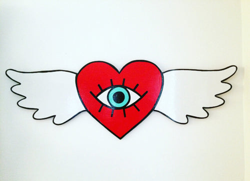 Winged Heart Iris Hand Painted Wood Sign