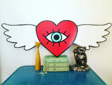Load image into Gallery viewer, Winged Heart Iris Hand Painted Wood Sign