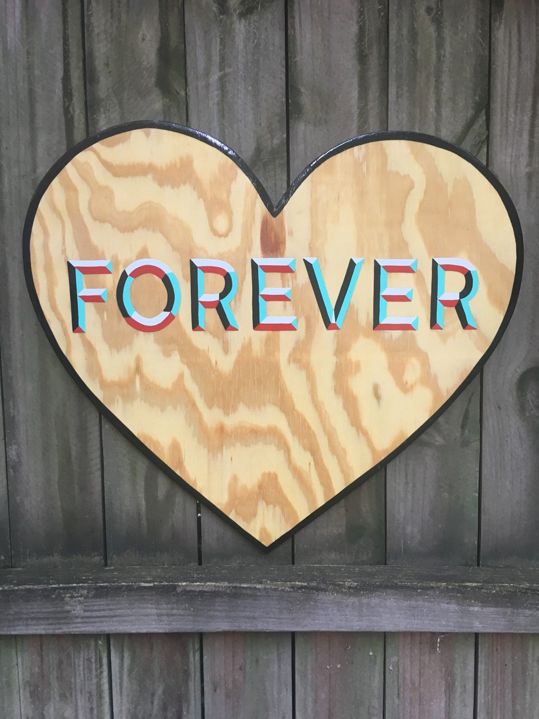 Forever Heart Hand Painted Wood Sign