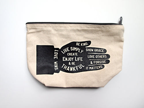 Live Simply Zippered Makeup Toiletry Bag