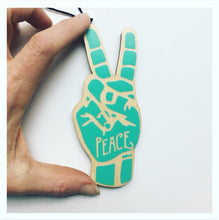 Load image into Gallery viewer, Peace Sign ASL Wood Christmas Ornament