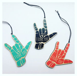 I Love You ASL Sign Language Christmas Ornament
