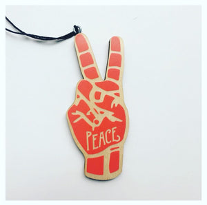 Peace Sign ASL Wood Christmas Ornament