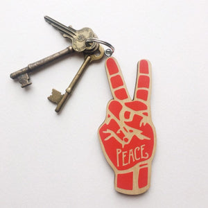 Peace Sign Hand Sign Language Wood Keychain
